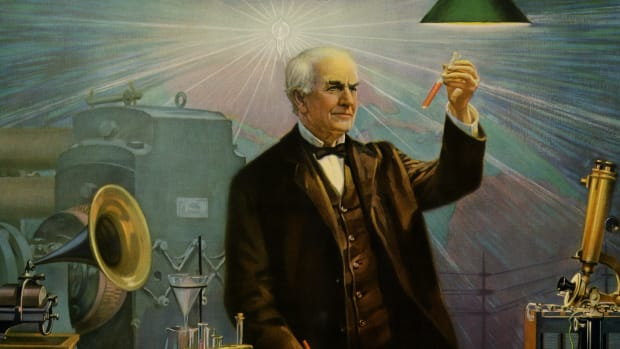 The great American inventor Thomas Edison is surrounded by his creations. (Photo by Buyenlarge/Getty Images)