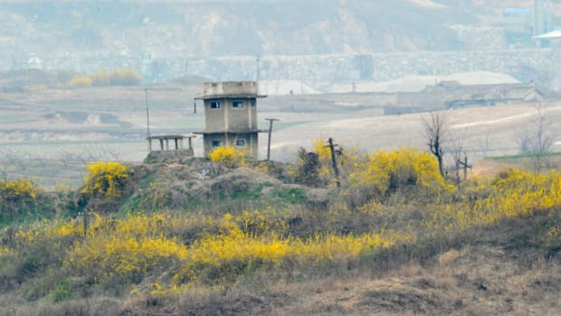 Spring flowers sprout in the bush field around a North Korean guard post in the demilitarised zone on April 23, 2013. Tensions simmer along the world's last Cold War frontier after weeks of hostile threats from North Korea and its preparations for potential missile launches.   AFP PHOTO / KIM JAE-HWAN        (Photo credit should read KIM JAE-HWAN/AFP/Getty Images)