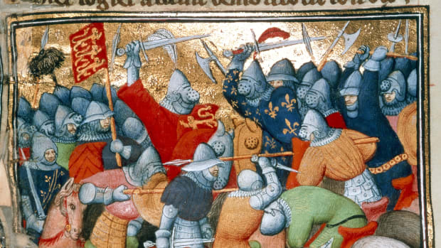 The Battle of Crecy between the English and the French in 1346. Image taken from Grandes Chroniques de France. Originally published/produced in Circa 1415. Illustrated by Workshop of the Boucicaut Master. (Photo by The British Library/Robana via Getty Images)