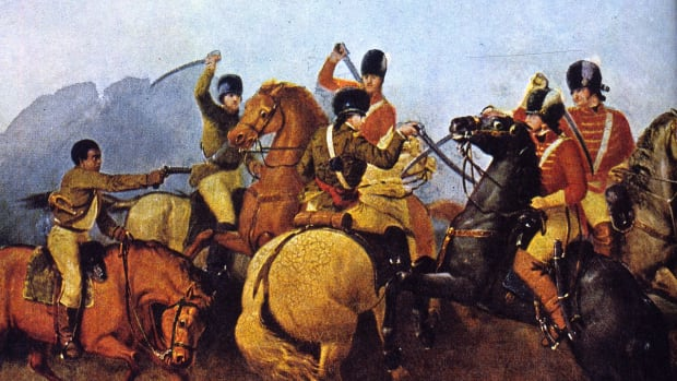 1781:  American soldier Colonel Wiliam Washington fighting in hand to hand combat with British dragoon Lieutenant Colonel Banastre Tarleton along the Green River Road during the Battle of Cowpens. Colonel Washington's Bugler (left) is shooting one of Tarleton's officers.  (Photo by MPI/Getty Images)