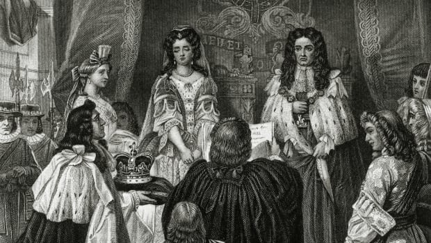 english-history-illustration-pic-12th-february-1689-this-illustration-shows-william-and-mary-being-offered-the-crown-by-the-lords-and-commons-at-whitehall-the-monarchs-as-william-iii-and-mary-ii