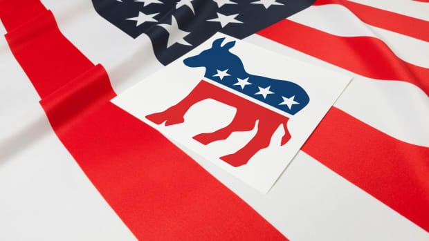 series-of-usa-ruffled-flags-with-democratic-party-symbol-over-it