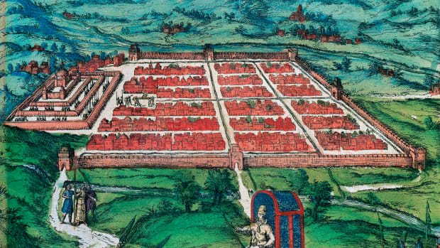 "Cusco (Peru). View of the city and its environs in 1576, conquered by the Spanish around 1534. ""Civitates Orbis Terrarum"" by G. Brauman and F. Hogenberg."