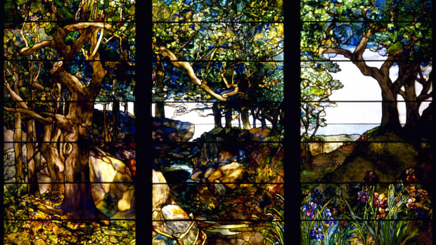 a-wooded-landscape-in-three-panels-c-1905-artist-tiffany-louis-comfort-1848-1933