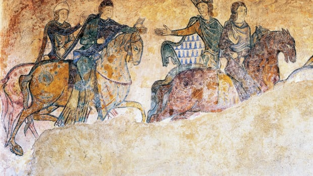 FRANCE – CIRCA 2003: Isabella of Angouleme, Eleanor of Aquitaine and two Squires (13th century), fresco, Chapel of St Radegund, Chinon, Centre, France. Detail. (Photo by DeAgostini/Getty Images)