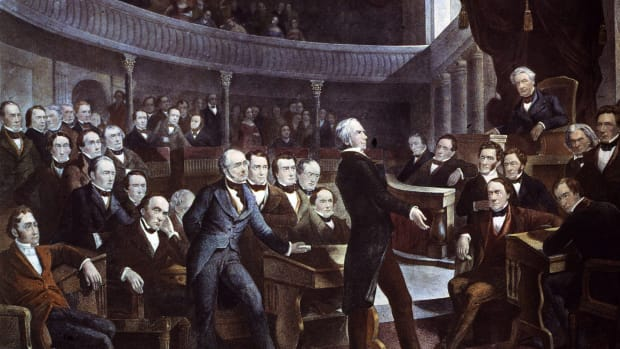 Speaker of the House of Representatives Henry Clay addressing the Senate.
