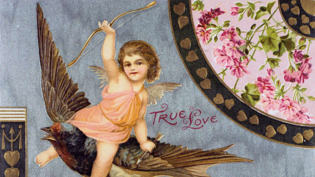 true-love-american-valentine-card-1908-cupid-his-bow-held-aloft-rides-a-swallow-a-bluebird-of-happiness