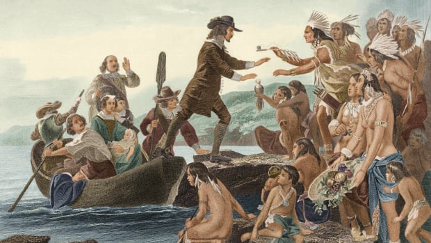 Roger Williams, founder of Rhode Island, is greeted by Native American Indians circa 1636.
