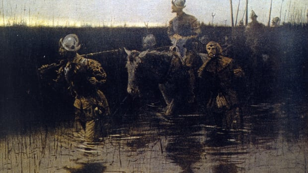 Circa 1540, Spanish explorer Hernando de Soto (c.1500 – 1542) and his men journey across America on one of their expeditions in search of treasure. Original Artwork: Painting by Frederic Remington. (Photo by MPI/Getty Images)
