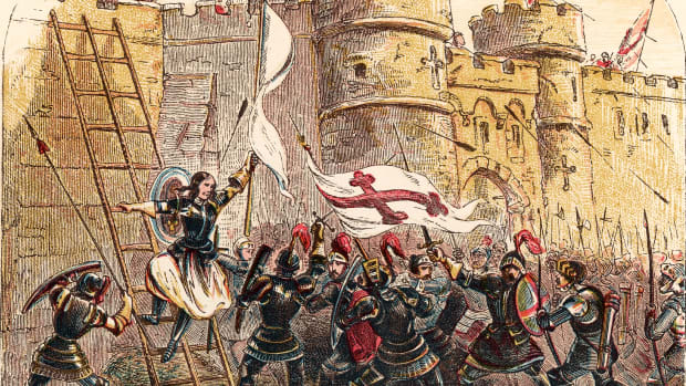 UNSPECIFIED – CIRCA 1800: Joan of Arc leads French army against English defenders of Les Tourelles gate in siege of Orleans May 7, 1429. From 19th century chromolithograph. (Photo by Universal History Archive/Getty Images)