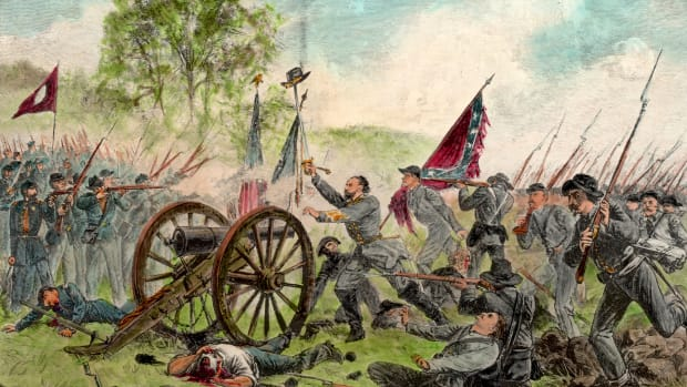 3rd July 1863:  Illustration of Confederate General George E. Pickett's charge at Gettysburg, Pennsylvania, during the U.S. Civil War (1861-1865).  (Photo by Hulton Archive/Getty Images)