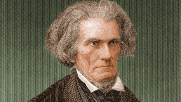 Portrait (colored engraving) depicts John Caldwell Calhoun (1782-1850), American politician from South Carolina who served as U.S representative (1811-17), U.S. secretary of war (1817-25), U.S. vice president (1825-32), U.S. senator (1832-43 and 1845-50), and U.S. secretary of state (1844-45). In senate debates he supported slavery and white South socioeconomic causes.