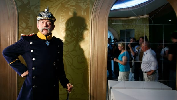 BERLIN – JULY 03:  A wax model of the first German Reichs-Chancellor Otto von Bismarck is displayed in the Berlin Branch of Madame Tussauds on July 3, in Berlin, Germany. The famous Madame Tussauds wax figure cabinett is due to open its location in Berlin on July 9th.  (Photo by Steffen Kugler/Getty Images)