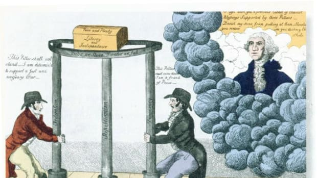 "This Federalist Party cartoon, created circa 1800, depicts President George Washington (in heaven) telling partisans to let the three pillars of Federalism, Republicanism and Democracy stand to hold up ""Peace and Plenty, Liberty and Independence."" At the left, a Democrat states, ""This Pillar shall not stand I am determin'd to support a just and necessary War,"" and at the right, a Federalist claims, ""This Pillar must come down I am a friend of Peace."""