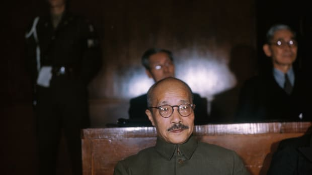 "15 Apr 1948, Tokyo, Japan — Hideki Tojo, after two years and more than 400 courtroom days, had his last say April 15, 1948, before receiving the verdict of the Military Tribunal for the Far East, which is trying major defendants in Tokyo. The wartime Japanese premier's defense summation, which took two days to read, ended with an appeal that ""a trial by civilization, based solely upon law and justice and rising far above the hatred and prejudices which the war has entailed, will show us the right way to lasting world peace."" — Image by © Bettmann/CORBIS"