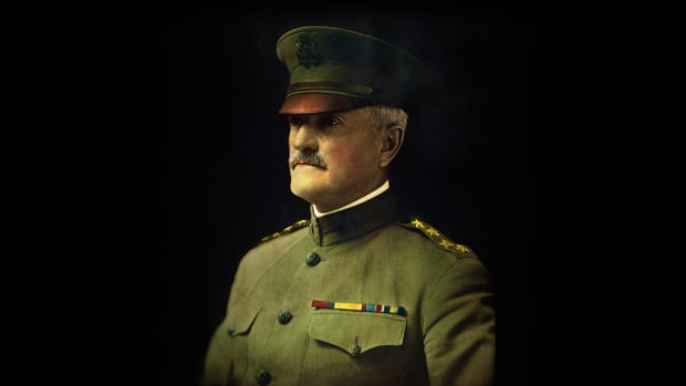 Hand-tinted photographic portrait of John J. (Joseph) Pershing (1860-1948), appointed General of the U.S. Army in 1919. — Image by © Bettmann/CORBIS