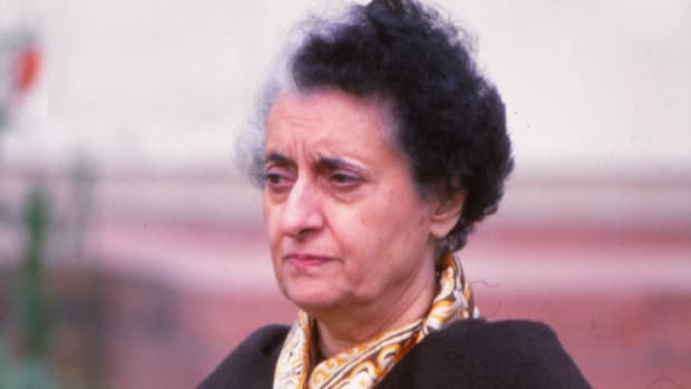 Closeup of the primer Minister of the India, Indira Gandhi, 1982, New Delhi, India. (Photo by Gianni Ferrari/Cover/Getty Images)