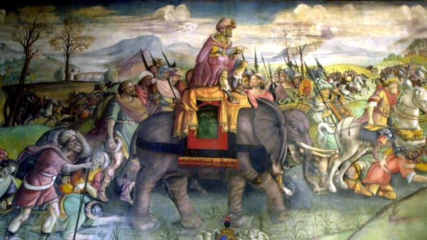 Detail of the fresco on Hannibal, Hannibal riding his elephant, Italy, Rome, Capitole museum. (Photo by Photo12/UIG/Getty Images)
