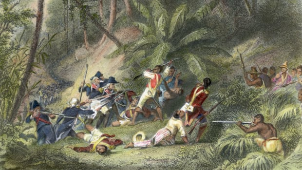 Slaves revolting against French power in Haiti.