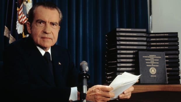 Nixon with the Watergate transcripts