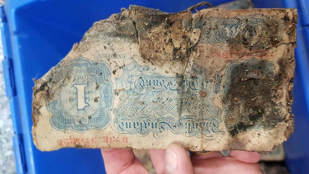 World War II-era banknotes found under Cotswold Outdoor store in Brighton, England.