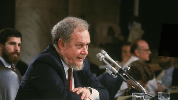 Reagan nominee for the Supreme Court, Judge Robert Bork, testifies on the fourth day of his Supreme Court confirmation hearing in Washington D C. Bork was rejected by the Senate. (Photo by CNPGetty Images)