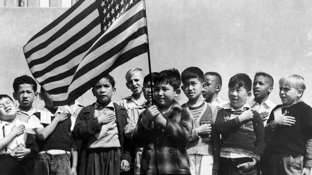 American children of Japanese, German and Italian heritage