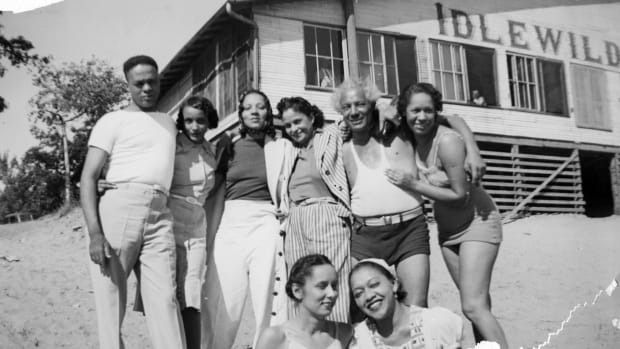 A group of people at the Idlewild Club House in 1938
