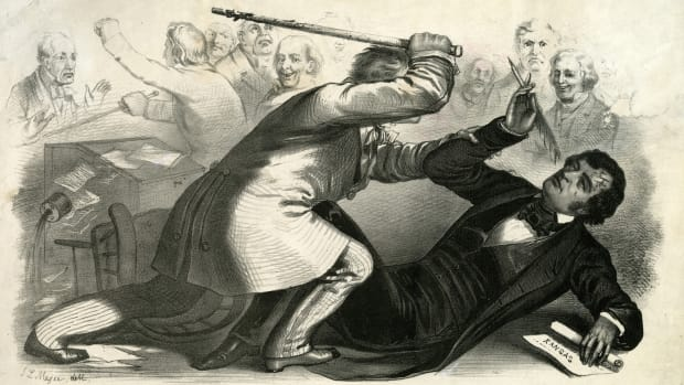 Carolina Representative Preston Brooks beating abolitionist Massachusetts Senator Charles Sumner