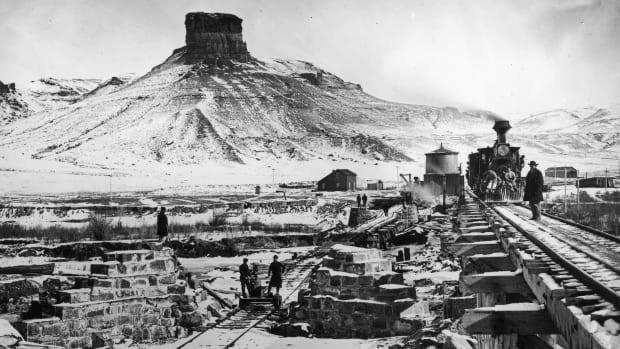 Working on the construction of the Transcontinental Railroad