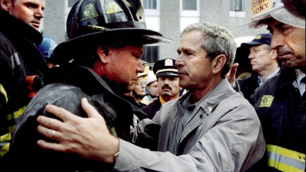 Reaction to 9/11, President Bush at Ground Zero with the FDNY after the attacks on September 11, 2001