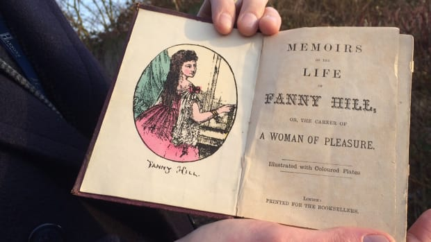 Jim Spencer holding book-Fanny Hill-credit Hansons-promo