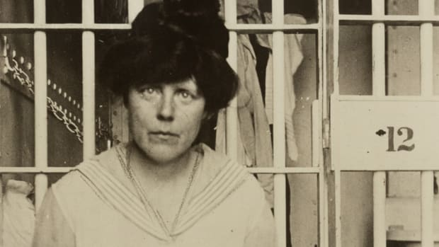 Suffragist Lucy Burns in a cell