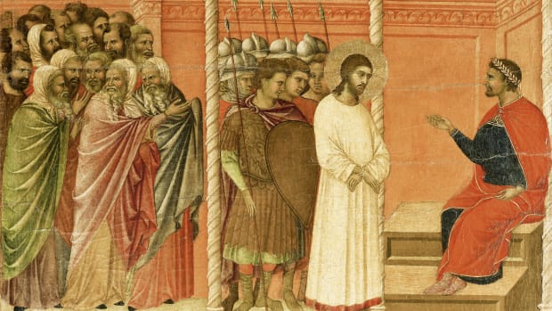 Jesus before Pilate before his death.