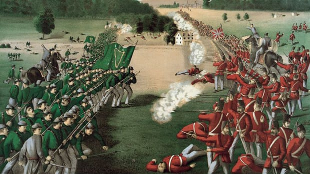 Irish and Canadians fighting in battle