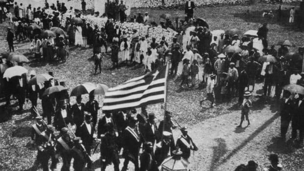 The citizens of Monrovia celebrate the Liberian Independence Day on 26th July, circa 1910.