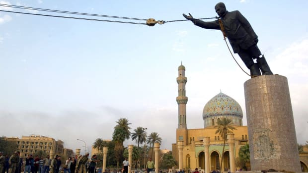 Statue of Saddam Hussein toppled on April 9, 2003