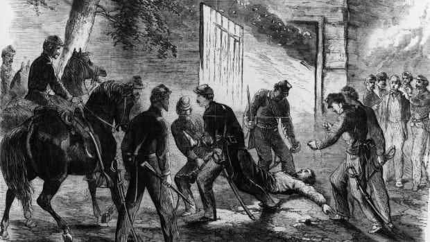 Black and white illustration of the death of John Wilkes Booth