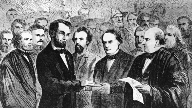 President Abraham Lincoln takes the oath of office for his second term 1865, At His Second Inauguration, Abraham Lincoln Tried to Unite the Nation