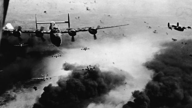 World War II Air Raid Targeted Hitler's 'Gas Station,' 15th Air Force bomb the Rumanian oil fields of Ploesti