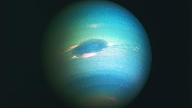 A color composite of the planet Neptune, produced from images taken by Voyager 2 in 1989.