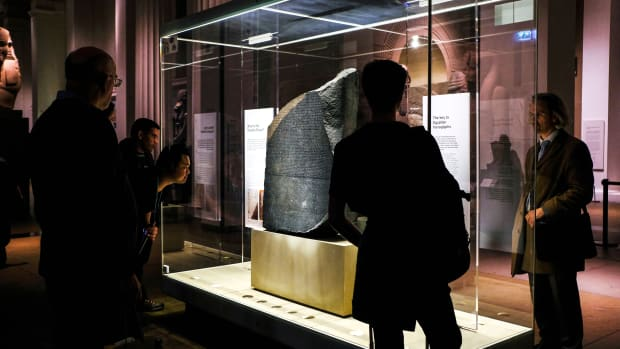 The Rosetta Stone on display at the British Museum in London.
