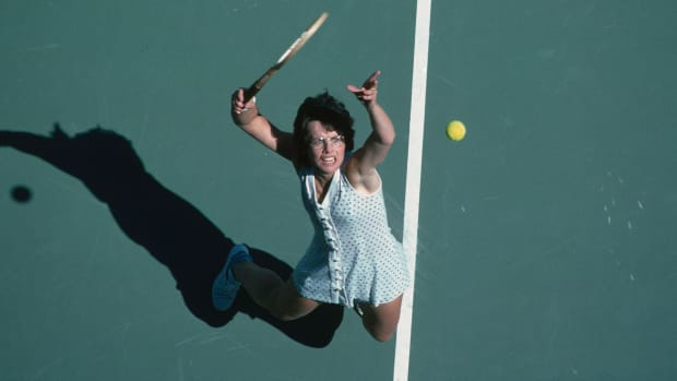 Billie Jean King during the final of the 1978 US Open Women's Doubles tennis tournament