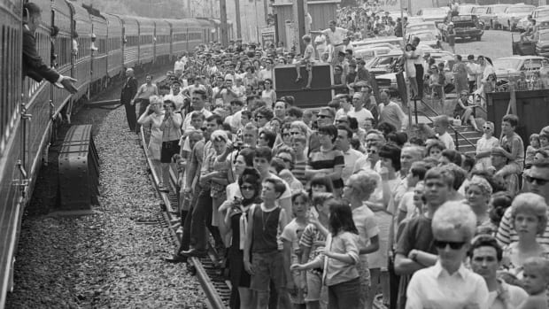 View of spectators waiting for Robert F. Kennedy funeral train