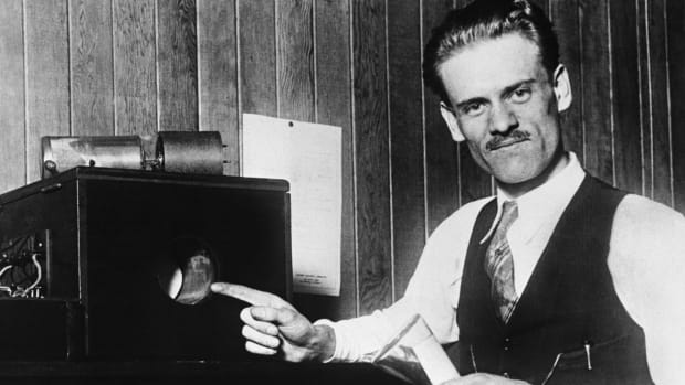 Inventor Philo T. Farnsworth with his invention, the first electronic television