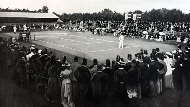 Sport. Tennis. All England Lawn Tennis Championships. Wimbledon, London, England. 1892. An illustration of the All comers Final between the winner Dr. Joshua Pim and E.W.Lewis.