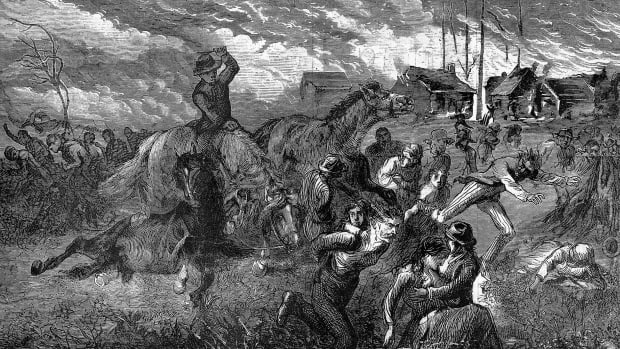 An illustration of The Great Fire of Peshtigo in Wisconsin. People are shown trying to run and flee the fire in a chaotic scene.
