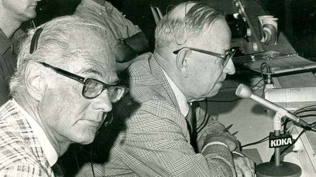 Pittsburgh Pirates broadcaster Bob Prince (left) and Harold Arlin, who broadcast the first Major League Baseball game on Aug. 5, 1921. In this photo from Aug. 30, 1972, at the San Diego Padres-Pirates game, Arlin broadcast an inning of his grandson, Steve, who was pitching for the Padres.