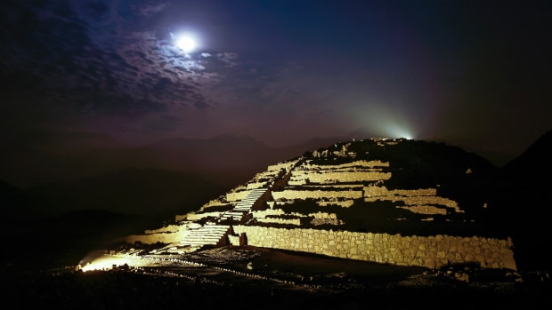 Night view of the UNESCO World Heritage-listed archaeological site of Caral-Supe, one of the oldest centers of civilization in the Americas.