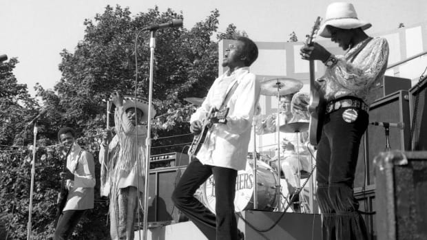 The Chambers Brothers singing quintet performs on June 29, 1969 at the Harlem Cultural Festival, Mount Morris Park, New York, NY.
